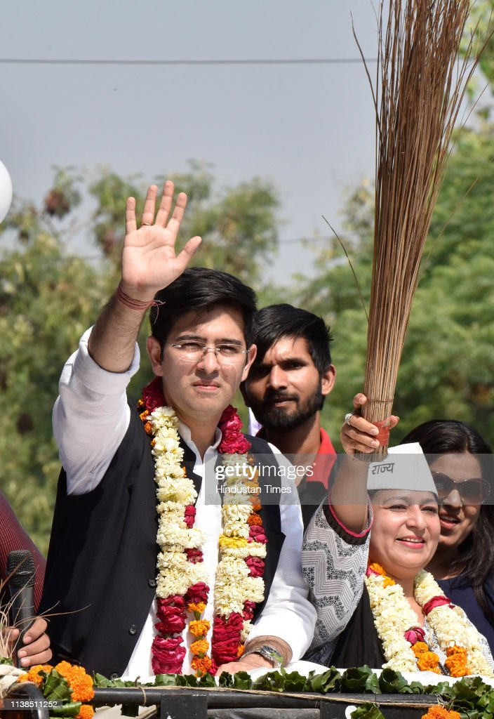 IND: AAP candidate Raghav Chadha holds a road show; Files Nomination