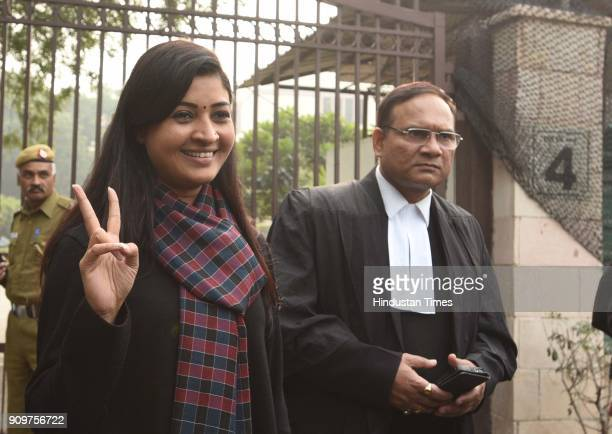 Aam Aadmi Party Chandhi Chowk MLA Alka Lamba at Delhi High Court after hearing election commission 20 MLA disqualification issue today on January 24...