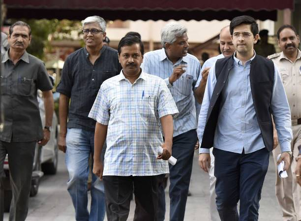 Aam Aadmi Party Convener and Delhi Chief Minister Arvind Kejriwal with other leaders leave ECI headquarters after meeting with the Chief Election...