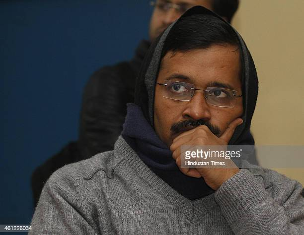 Aam Aadmi Party Convener Arvind Kejriwal during his meeting with doctors, nurses employed on contract by Delhi Government hospitals at Raja Ram Mohan...