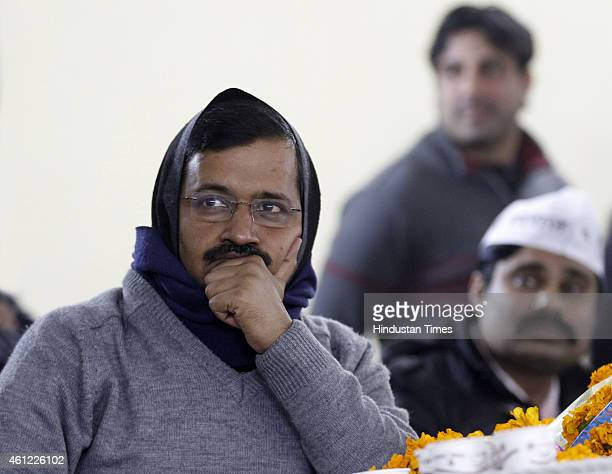 Aam Aadmi Party Convener Arvind Kejriwal during his meeting with doctors nurses employed on contract by Delhi Government hospitals at Raja Ram Mohan...