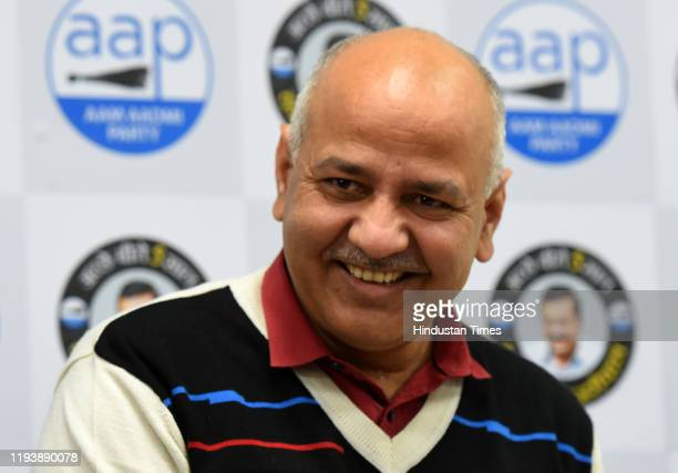 Aam Aadmi Party leader and Delhi Deputy Chief Minister Manish Sisodia during a press conference at party headquarters on January 15 2020 in New Delhi...