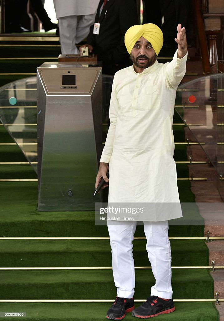 Aam Aadmi Party leader and Member of Parliament from Punjab Bhagwant Maan during the first day of winter session of Parliament at Parliament House on.