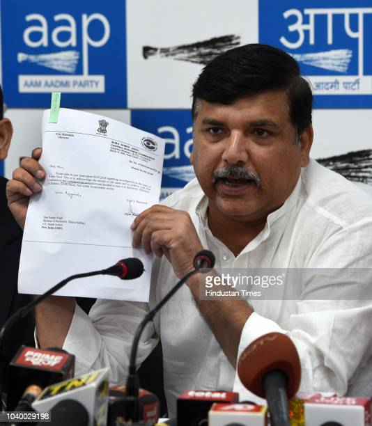 Aam Aadmi Party leader and Rajya Sabha member Sanjay Singh addresses during a press conference on Rafale deal at party headquarter on September 25...