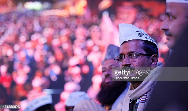 Aam Aadmi Party leader Arvind Kejriwal along with Manish Sisodia Kumar Vishwas and party leaders during the concert 'Rock The Ballot' in support of...