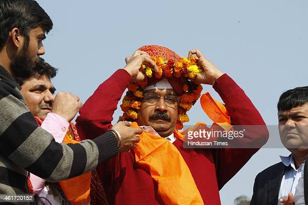 Aam Aadmi Party leader Arvind Kejriwal during his party rally ahead of the upcoming Delhi Assembly Elections at Mohan Garden Uttam Nagar Vidhan Sabha...