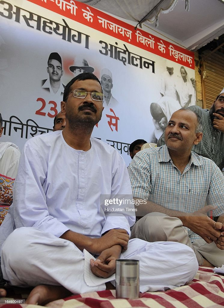 Aam Aadmi Party leader Arvind Kejriwal on the seventh day of his indefinite hunger protest against inflated electricity and water bills at Sundar Nagari on March 29, 2013 in New Delhi, India. Arvind Kejriwal, said the prices of power and water in Delhi had gone up many times because of corruption of Sheila Dikshit Government. Responding to the allegation made by Delhi Chief Minister that people can't use 24 hours power supply and pay only for 8 hours, Arvind Kejriwal challenged Shiela Dikshit for an open debate anywhere anytime in front of the people of Delhi.