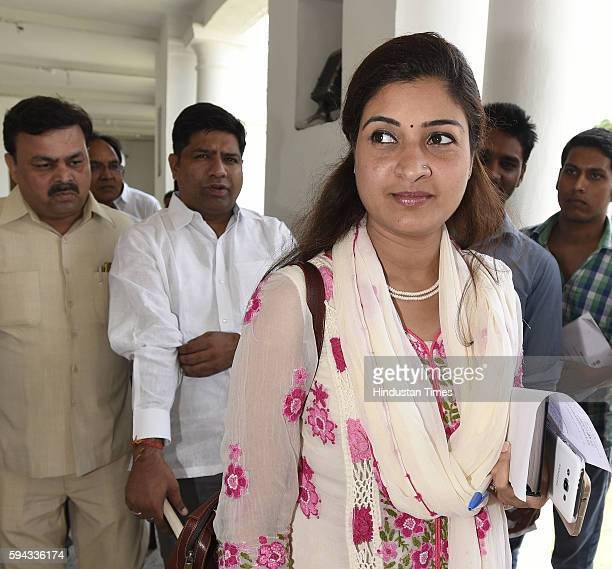 Aam Aadmi Party MLA from Chandhi Chowk Alka Lamba arrives for attending the Monsoon Session of Delhi Legislative Assembly on August 22 2016 in New...