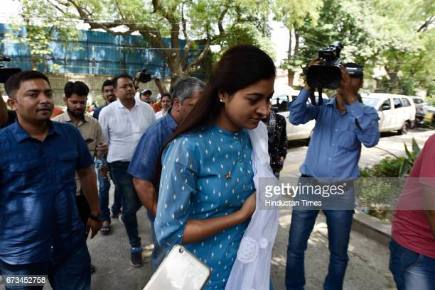 Aam Aadmi Party MLA from Chandni Chowk Alka Lamba arrives at Arvind Kejriwal's residence after humiliating defeat to the Arvind Kejriwalled AAP on...
