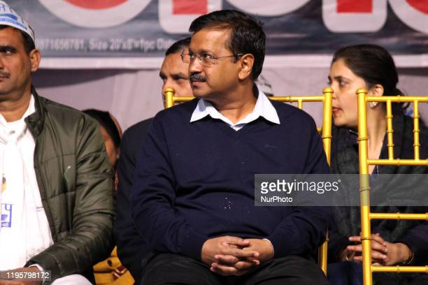 Aam Aadmi Party National convener and Delhi Chief Minister Arvind Kejriwal is seen addressing a public gathering during campaigning ahead of Delhi...