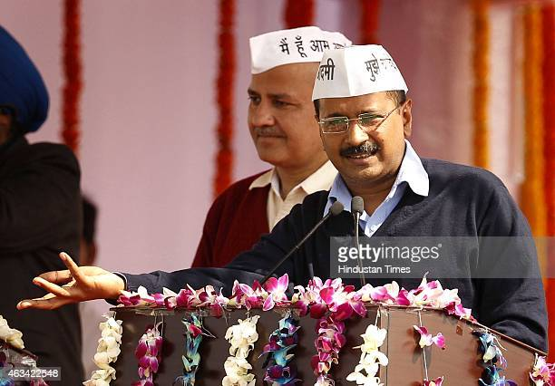 Aam Aadmi Party national convener Arvind Kejriwal addressing his supporters during his swearing-in ceremony as the chief minister of Delhi at the...