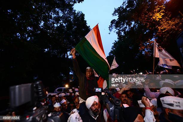 Aam Aadmi Party protest outside of BJP office on March 5 2014 in New Delhi India