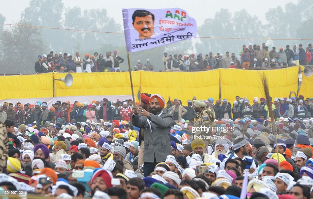 Aam Aadmi Party supporters during a public rally of Delhi Chief Minister Arvind Kejriwal on the occasion of Maghi Mela at Muktsar on January 14 2016..