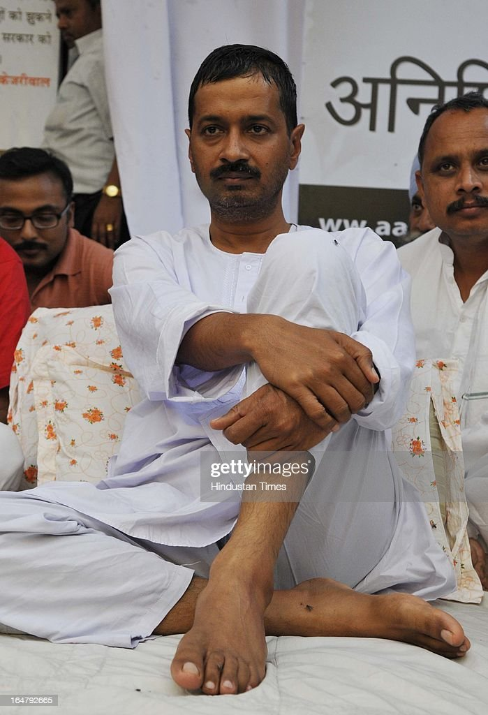 Aam Admi Party leader Arvind Kejriwal on the sixth day of his indefinite hunger protest against inflated electricity and water bills at Sundar Nagari on March 28, 2013 in New Delhi, India. Kejriwal's health is stabilized as of now with all the vital parameters within the normal range. However he has lost 6 kg since his fast begun on March 23.