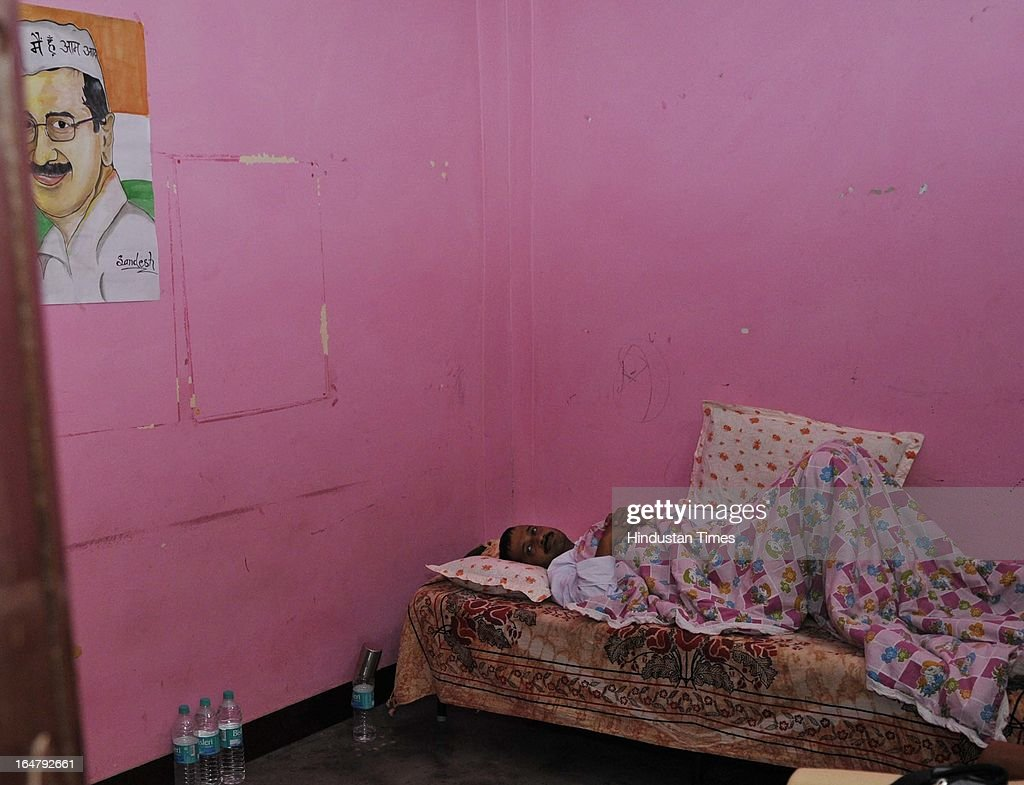 Aam Admi Party leader Arvind Kejriwal rests in a solitary room on the sixth day of his indefinite hunger protest against inflated electricity and water bills at Sundar Nagari on March 28, 2013 in New Delhi, India. Kejriwal's health is stabilized as of now with all the vital parameters within the normal range. However he has lost 6 kg since his fast begun on March 23.