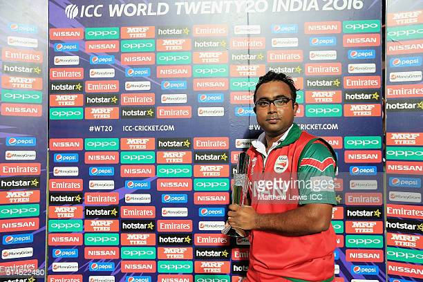 Aamer Ali of Oman pictured with the 'Man of the Match' award after the ICC Twenty20 World Cup match between Ireland and Oman at the HPCA Stadium on...