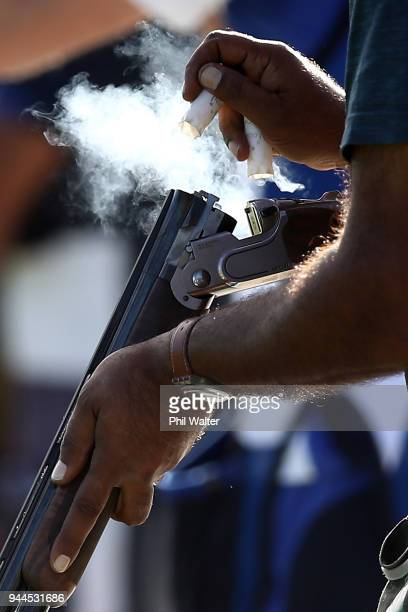 Aamer Iqbal of Pakistan competes in the Men's Double Trap Finals on day seven of the Gold Coast 2018 Commonwealth Games at Belmont Shooting Centre on...