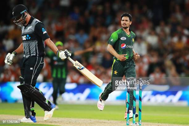 Aamer Yamin of Pakistan celebrates bowling Colin de Grandhomme of the Black Caps out during game three of the International Twenty20 match between...