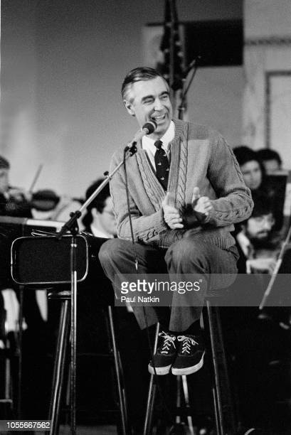 AAmerican television personality Fred Rogers of the television show Mister Rogers' Neighborhood at the Chicago Public Library in Chicago Illinois...