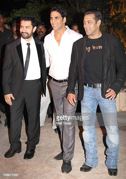 Aamir Khan Akshay Kumar and Salman Khan at Imran Khan and Avantika Malik's wedding reception party which was organised by Aamir Khan and Kiran Rao at...