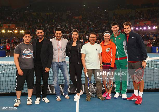 Aamir Khan Akshay Kumar Reitesh Deshmukh Deepika Padukone Sunil Gavaskar Sania Mirza Novak Djokovic and Roger Federer at a proam match during the...