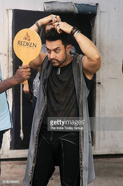 Aamir Khan during the song shoot of film 'Dangal' at Mehboob studio in Mumbai