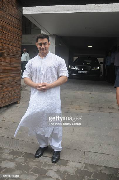 Aamir Khan outside his residence in Mumbai greeting his fans on the occasion of Eid