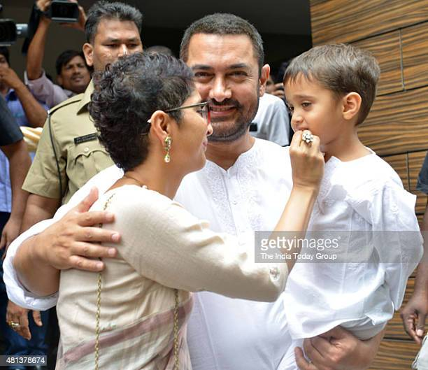Aamir Khan with wife Kiran Rao and son celebrating Eid in Mumbai