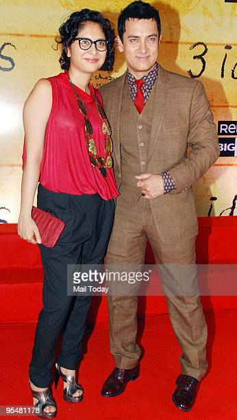 Aamir Khan with wife Kiran Rao at the premiere of the film 3 Idiots in Mumbai on Wednesday December 23 2009