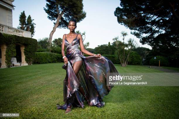 Aamito Lagum poses for portraits at the amfAR Gala Cannes 2018 cocktail at Hotel du CapEdenRoc on May 17 2018 in Cap d'Antibes France