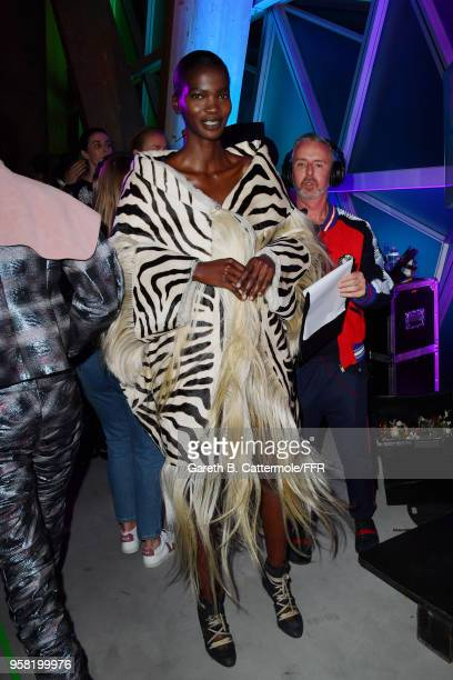 Aamito Lagum prepares backstage at Fashion for Relief Cannes 2018 during the 71st annual Cannes Film Festival at Aeroport Cannes Mandelieu on May 13...