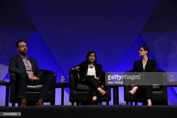 Aanchal Gupta director of security at Facebook speaks as Lea Kissner global lead of privacy technologies at Google and Mike Walker principal research...