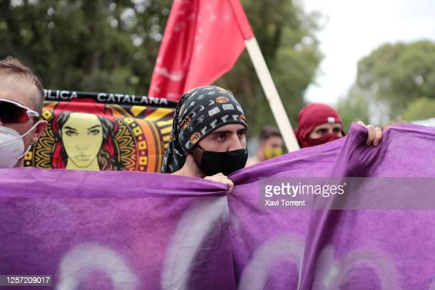 Aanti Monarchy people are seen protesting outside the monastery the Royal Monastery of Santa Maria de Poblet on July 20 2020 in Tarragona Spain This...