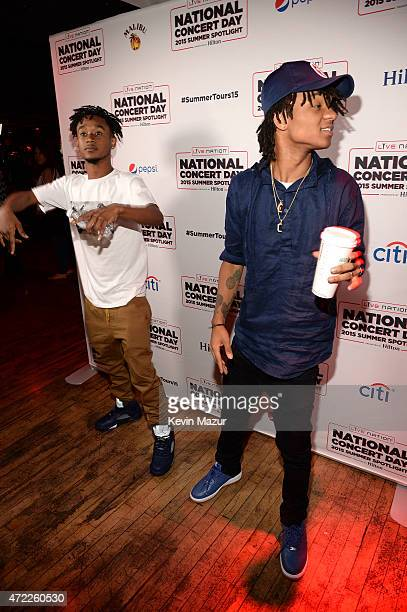Aaquil 'Slim Jimmy' Brown and Khalif 'Swae Lee' Brown of Rae Sremmurd arrive as Live Nation Celebrates National Concert Day At Their 2015 Summer...