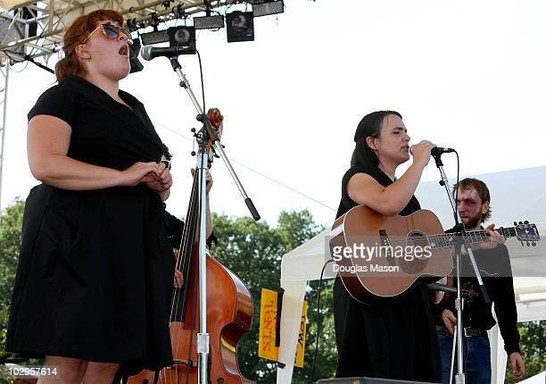 Aara Bode Emily Miller Jesse Milnes of the Sweetback Sisters perform during the Green River Festival at Greenfield Community College on July 17 2010...