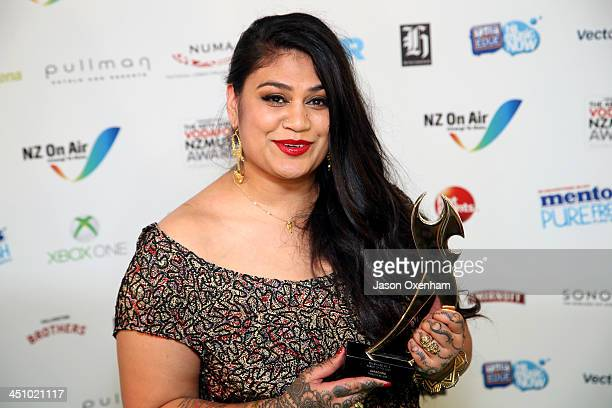 Aaradhna poses with the award for album of the year during the New Zealand Music Awards at the Vector Arena on November 21 2013 in Auckland New...