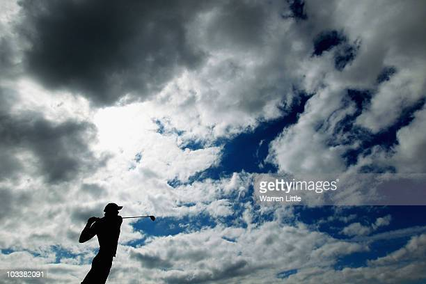 Aaraon Leitmannstetter of Germany tees off on the ninth hole during his semi final match against Adrian Otaegui of Spain for the Boys Amateur...