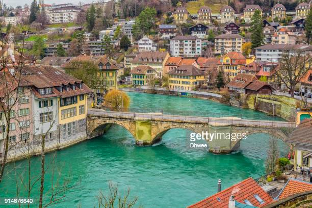 aare river and bridges in bern switzerland - bern stock photos and pictures
