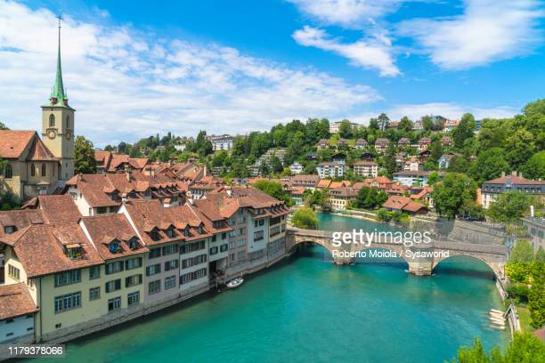 aare river and old town (altstadt), bern, switzerland - switzerland stock pictures, royalty-free photos & images