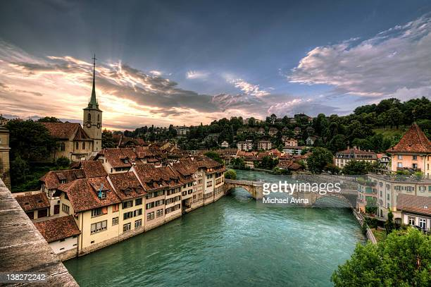 aare river in bern, switzerland - bern stock photos and pictures