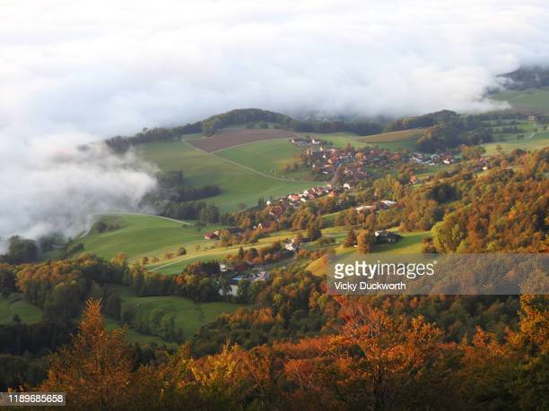 aare valley cloud inversion - inversion_(meteorology) stock pictures, royalty-free photos & images