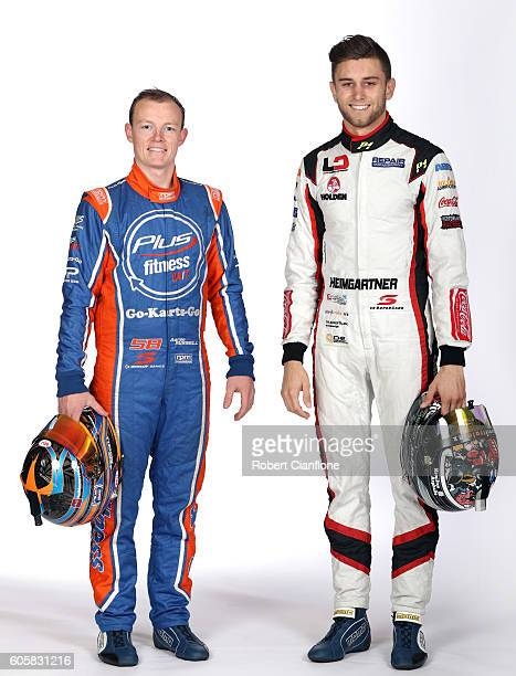 Aaren Russell and Andre Heimgartner drivers of the Plus Fitness Racing Holden pose during a V8 Supercars portrait session at Sandown International...