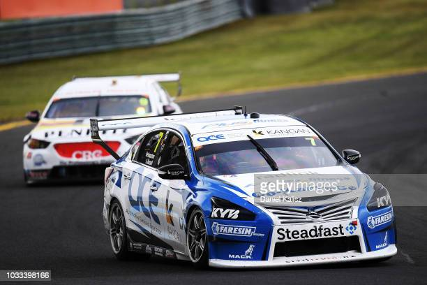 Aaren Russell drives the Nissan Motorsport Nissan Altima during qualifying race for grid 1 for the Supercars Sandown 500 at Sandown International...