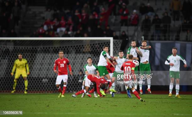 Aarhus , Denmark - 19 November 2018; Christian Eriksen of Denmark takes a free kick during the UEFA Nations League B match between Denmark and...
