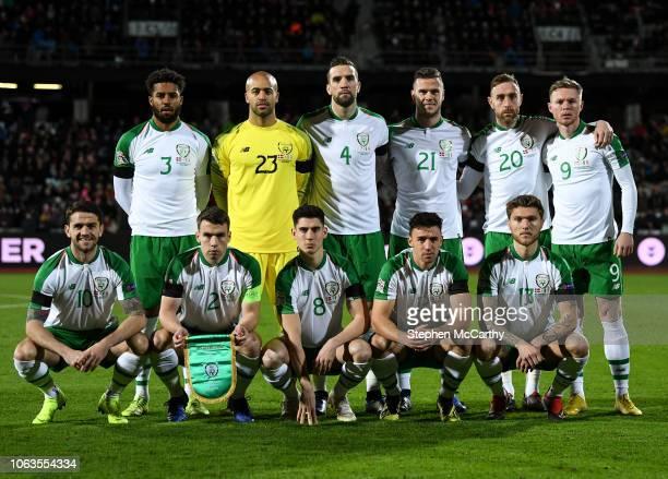 Aarhus , Denmark - 19 November 2018; The Republic of Ireland team, back row, Cyrus Christie, Darren Randolph, Shane Duffy, Kevin Long, Richard Keogh...