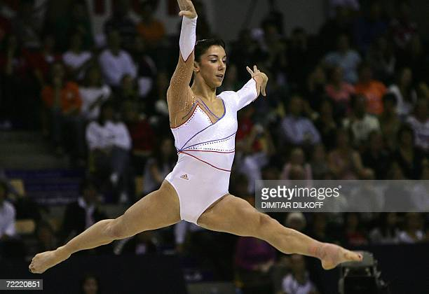 Gymnast Katheleen Lindor of France competes on the floor in the women's individual allaround final title at the Arena in Aarhus 19 October 2006 at...