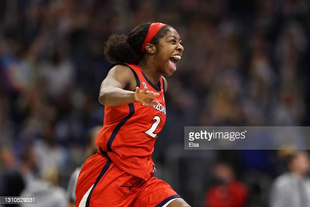 Aari McDonald of the Arizona Wildcats celebrates after defeating the UConn Huskies during the fourth quarter in the Final Four semifinal game of the...