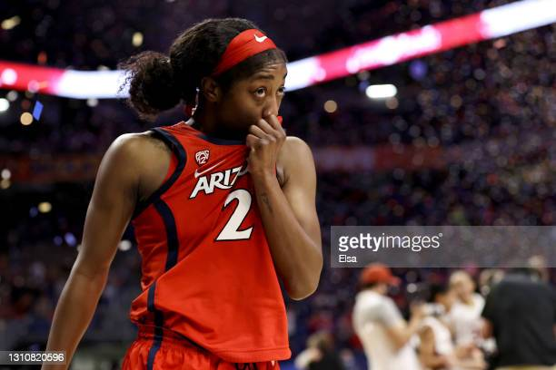 Aari McDonald of the Arizona Wildcats reacts reacts to the team's loss to the Stanford Cardinal in the National Championship game of the 2021 NCAA...