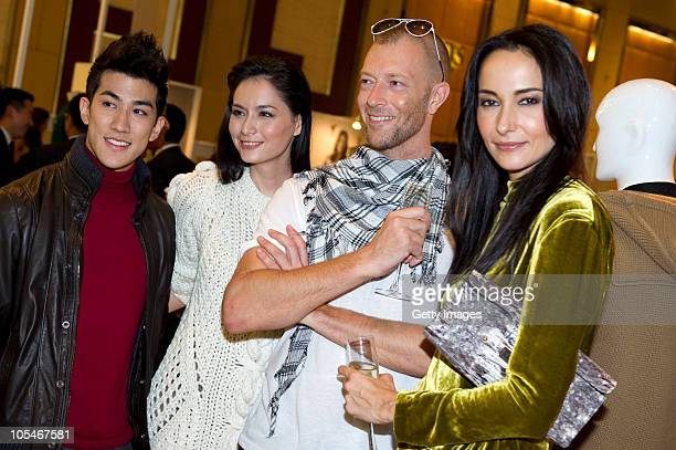 Aarif Lee Ana R Simon Birch and Lisa S attend the Pringle Of Scotland Hong Kong store opening cocktail party and exhibition at Landmark Central on...