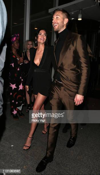 Aarika Wolf and Calvin Harris seen attending the Sony Music BRITS 2019 After Party at The Shard on February 20 2019 in London England